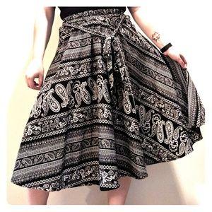 Black and White Patterned Tea Length Skirt